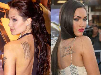 Celebrity Tattoos, hollywood, hot, hotties,