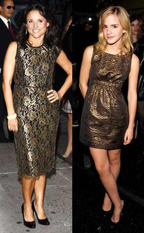 Emma Watson both chose to wear black-and-gold dresses to recent events.
