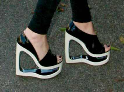 Celebrity Shoes on Celebrity Was Prancing Around Santa Monica In These Mighty Wedge Shoes