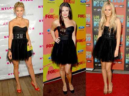 three Hollywood starlets accesorise the same dress