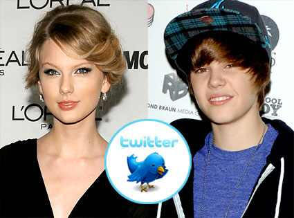 Taylor Swift, Justin Bieber, Twitter Logo Dimitrios Kambouris/Getty Images;