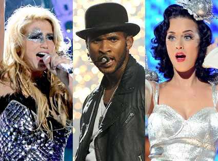 Kesha, Usher, Katy Perry