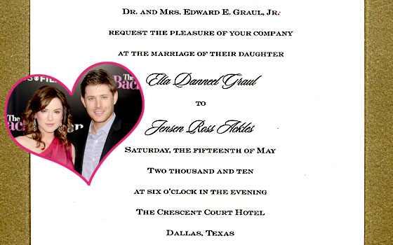 Jensen Ackles Danneel Harris Wedding Invitation Jason LaVeris FilmMagic
