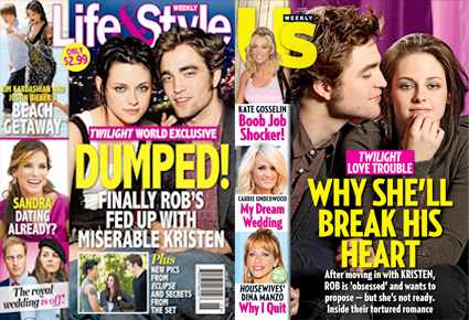 Robert Pattinson, Kristen Stewart, Life and Style Magazine, USWeekly Magazine