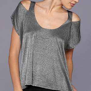 SOLOW Metallic Cold-Shoulder Top