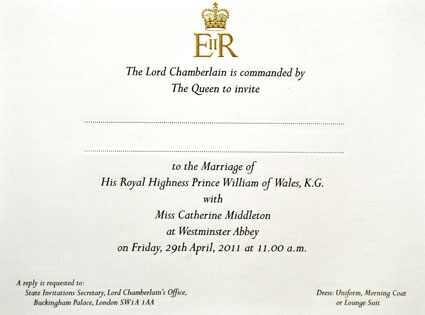 Kate Middleton, Prince William Wedding Invite