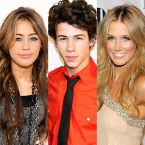 Miley Cyrus, Nick Jonas, Delta Goodrem