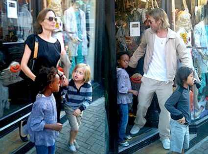 Angelina Jolie, Brad Pitt, Zahara, Shiloh, Pax