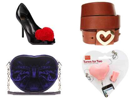 Suzy Smith Heart Velvet Purse, Pieces Fortune Heart Belt, Moschino Cheap & Chic Heart Pumps & Tunes for Two: