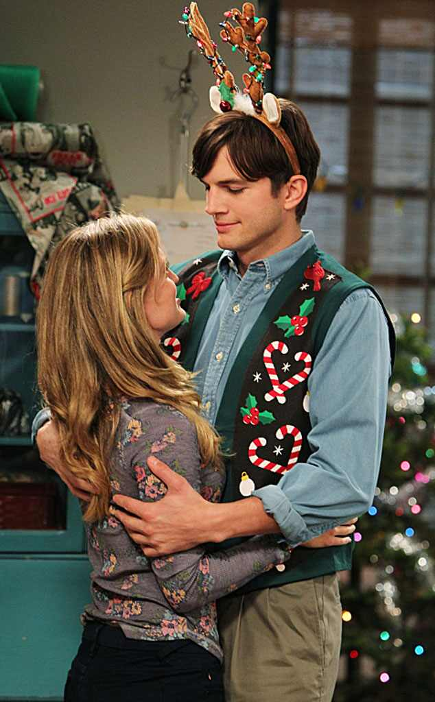 brooke d orsay ashton kutcher two and a half men from tv celebrates christmas e news. Black Bedroom Furniture Sets. Home Design Ideas