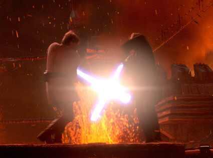 Anakin Skywalker Duels Obi-Wan Kenobi