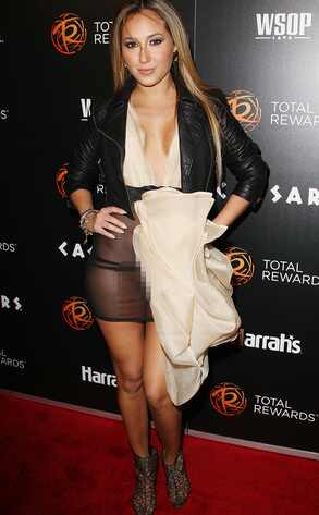 Adrienne Bailon, wardrobe malfunction, sheer dress, cheetah girl