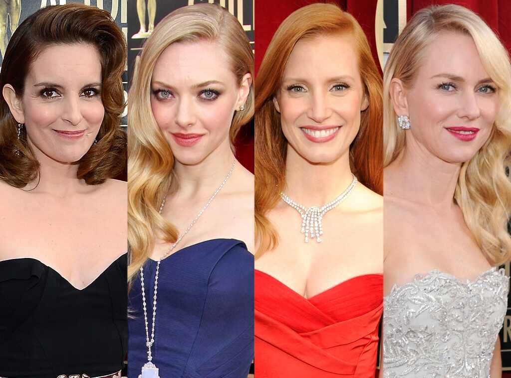 Sideswept Hair, Tine Fey, Amanda Seyfried, Jessica Chastain, Naomi Watts