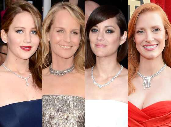 SAG Necklace Trends, Jennifer Lawrence, Helen Hunt, Jessica Chastain, Marion Cotillard
