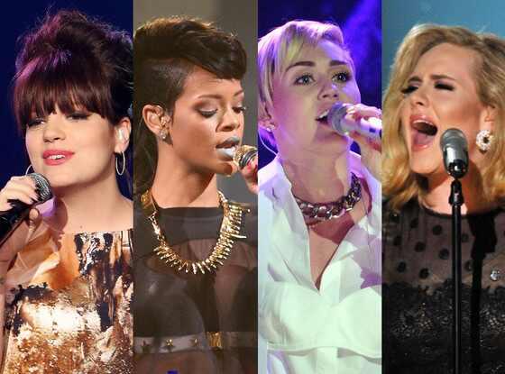 Lily Allen, Rihanna, Miley Cyrus, Adele