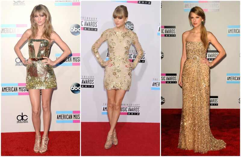 Taylor Swift looks American Music Awards vestido dourado