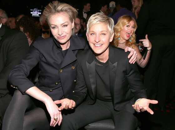 Portia de Rossi, Ellen DeGeneres, Kelly Clarkson, Grammys