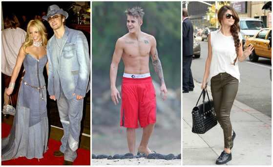 primeiro beijo dos famosos,  Britney Spears, Justin Timberlake, Justin Bieber, Selena Gomez
