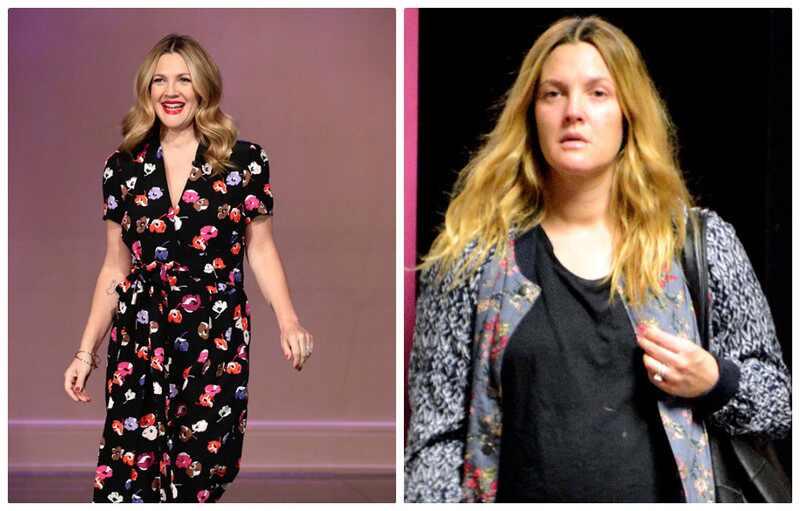Drew Barrymore grávida sem maquiagem antes depois