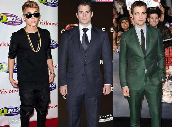 Justin Beiber, Henry Cavill, Robert Pattinson