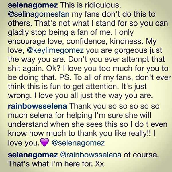Selena Gomez, Bullying, Instagram