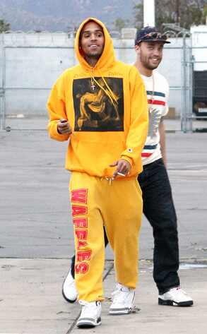 Chris Brown Steps Out (in Bright Yellow Sweat Suit) After ...