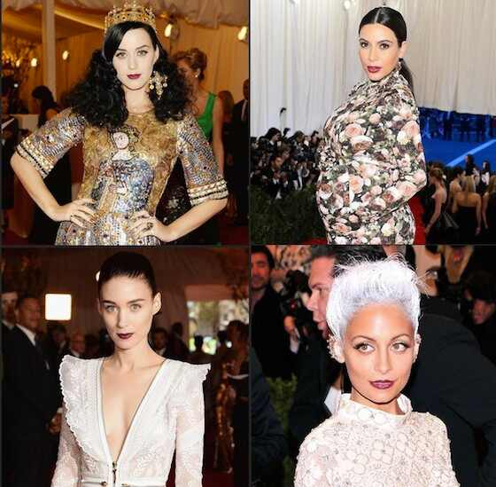 Batom vinho, Katy Perry, Kim Kardashian, Rooney Mara, Nicole Richie