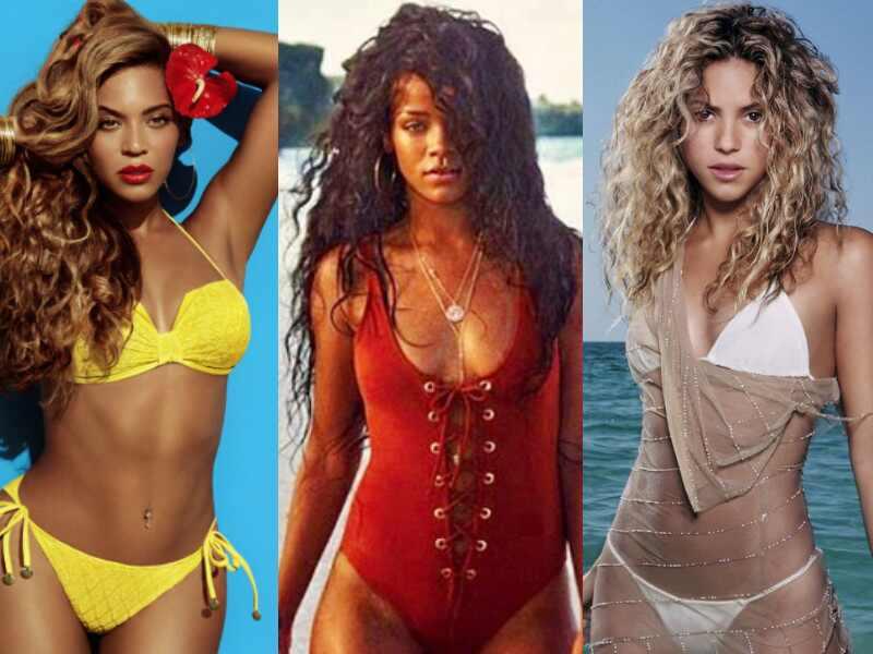 Rihanna, Beyonce e Shakira de biquini
