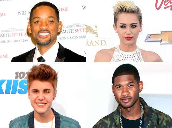 Justin Bieber, Miley Cyrus, Will Smith, Usher