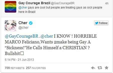 Cher, Marco Feliciano, Twitter, Gay