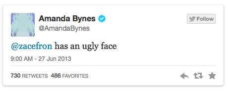 Amanda Bynes, Zac Efron, Tweets