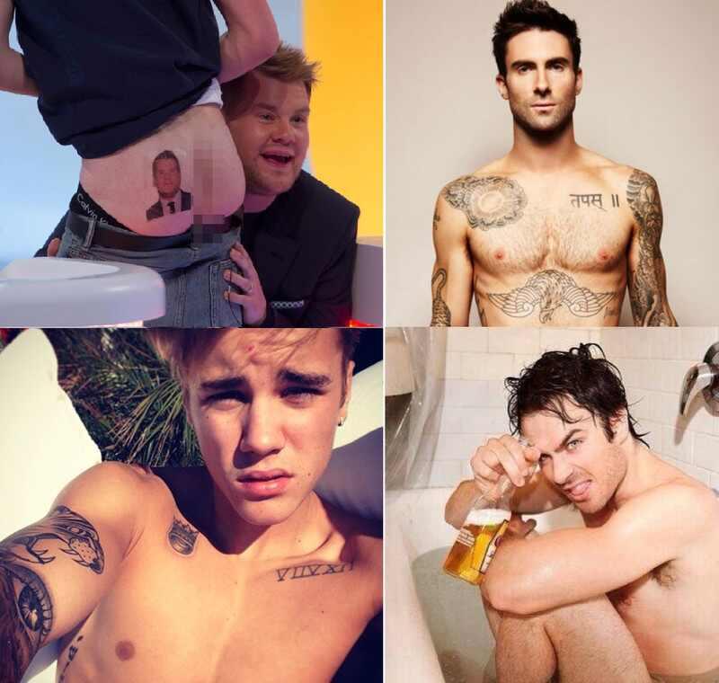 Niall Horan, Ian Somerhalder, Justin Bieber, Adam Levine, sem camisa, gatos