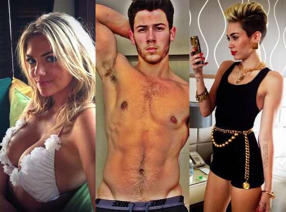 Kate Upton, Nick Jonas, Miley Cyrus, Selfie Twit Pics