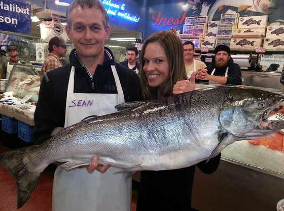 Hilary swank lands a big fish in seattle see the pic e for Big fish seattle