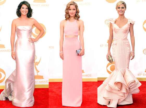 Cobie Smulders, Rose Bryne, Julie Bowen, Pink Dresses, Emmy Awards, 2013