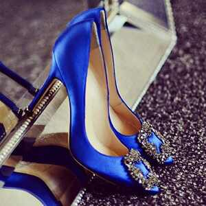 Manolo Blahnik blue shoe from Carrie Bradshaw