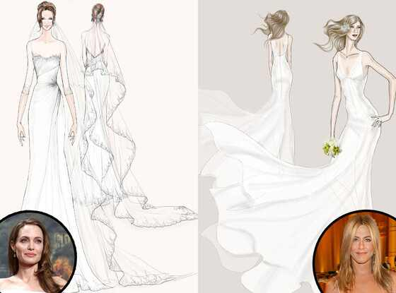 Angelina Jolie, Jennifer Aniston, Wedding Dress Sketch, Watters