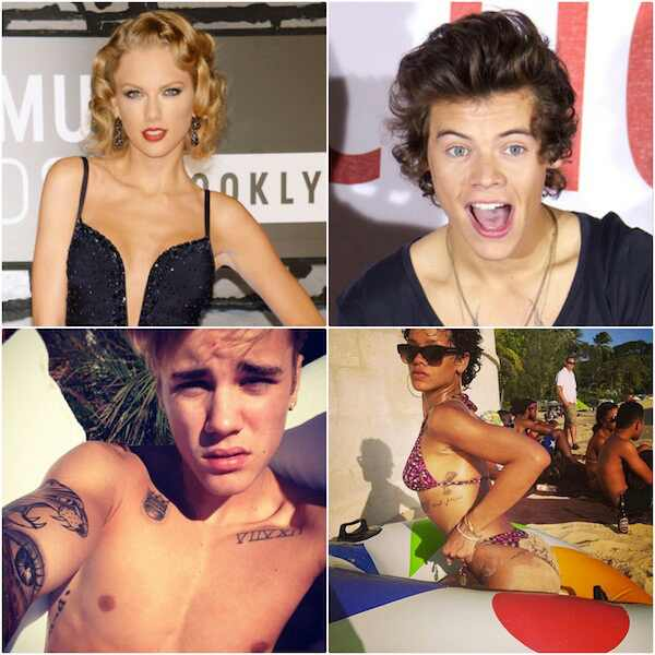Taylor Swfit, Harry Styles, Justin Bieber, Rihanna