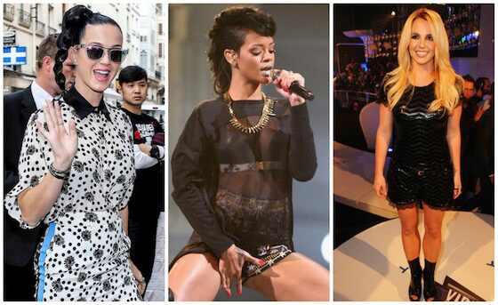 Katy Perry, Rihanna, Britney Spears