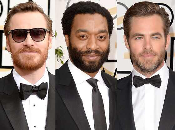 Michael Fassbender, Chiwetel Ejiofor, Chris Pine, Golden Globe Awards, Bearded Hairy Guys