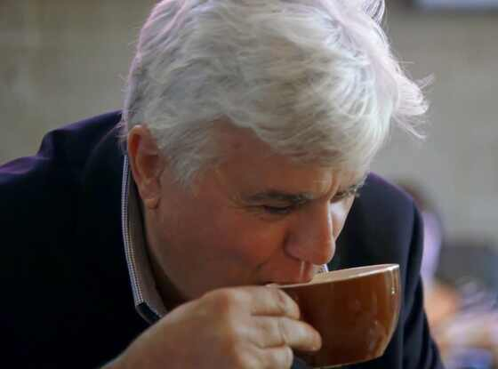 Jay Leno Has His First Cup Of Coffee Ever On Jerry