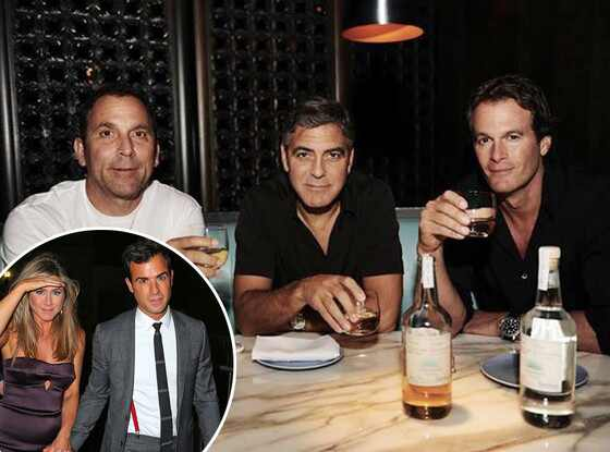 Mike Meldman, George Clooney, Rande Gerber, Jennifer Aniston, Justin Theroux, Facebook
