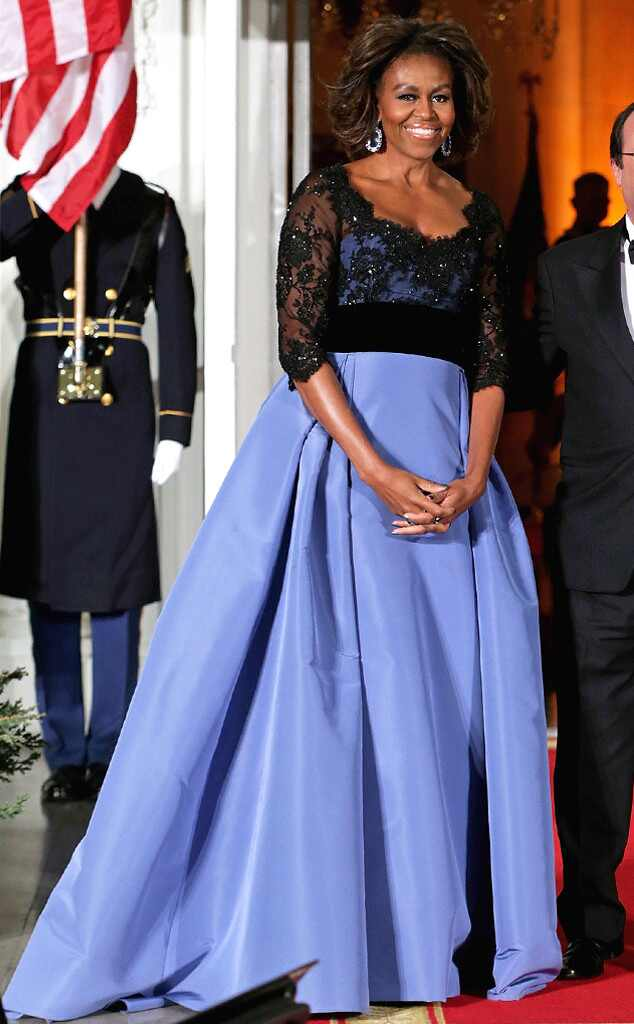 Michelle Obama Dazzles In Custom Carolina Herrera Gown At