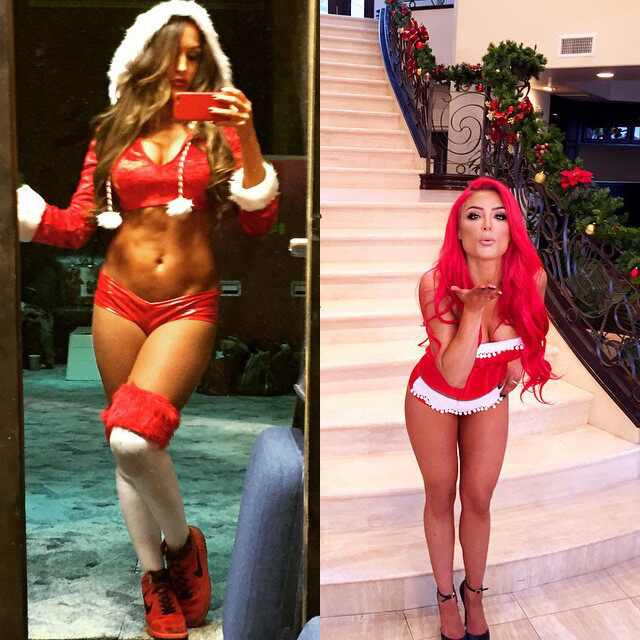 Nikki bella s sexy santa claus outfit eva marie s sultry kisses and