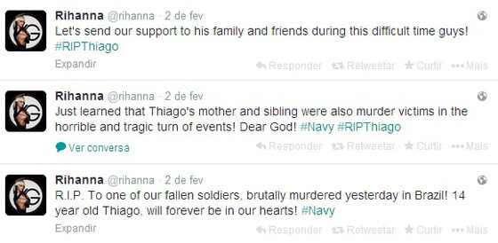 Rihanna ajuda fã brasileiro assassinado