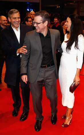 George Clooney, Matt Damon, Luciana Barroso