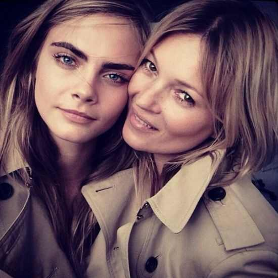 Cara Delevingne, Kate Moss, Burberry