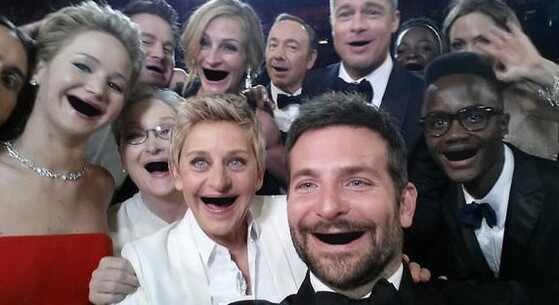 Resultado de imagem para selfie mais famosa de hollywood sem os dentes