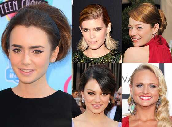 Lily Collins, Kate Mara, Emma Stone, Mila Kunis, Miranda Lambert, Mara Roszack Hair