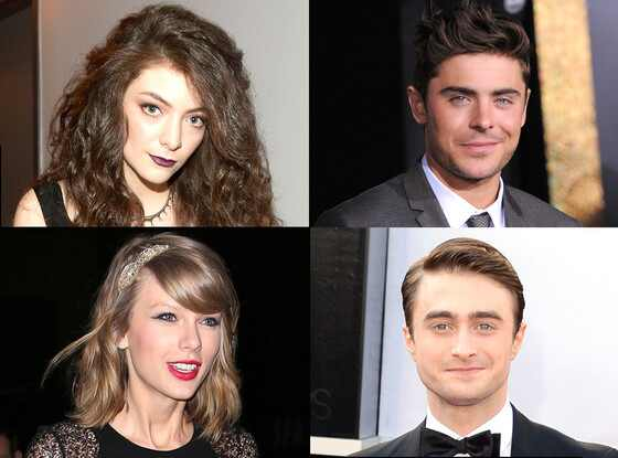 Taylor Swift, Zac Efron, Lorde, Daniel Radcliffe